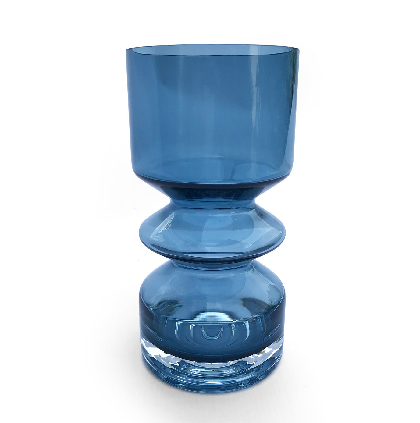 Scandinavian petrol blue & clear cased glass vase. Made by Riihimaki (also known as Riihimaen Lasi Oy) of Finland in the 1970's, and designed by Tamara Aladin, design number 1472 - SHOP NOW - www.intovintage.co.uk