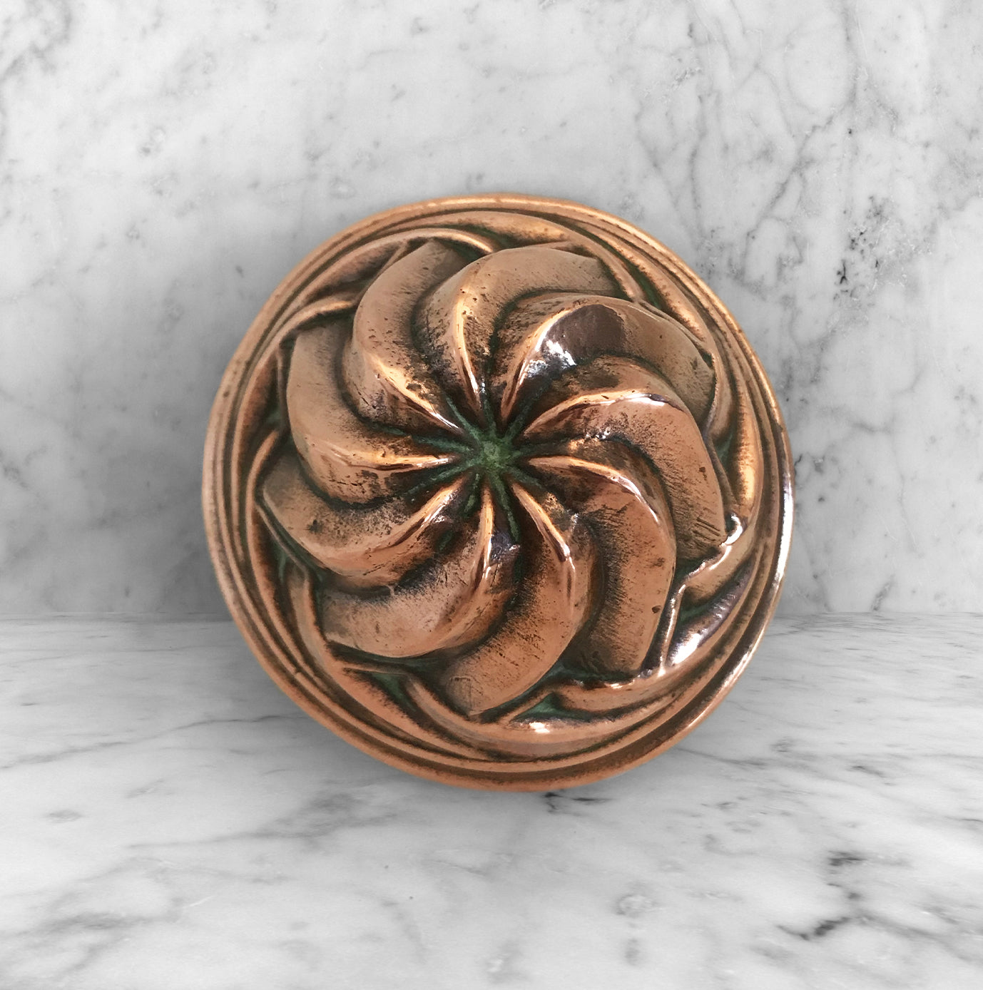 Nice small Victorian Copper Jelly or Blancmange Mould The Copper has a wonderl swirl pattern with a beautiful aged patina. Marked '123' on its rim - SHOP NOW - www.intovintage.co.uk