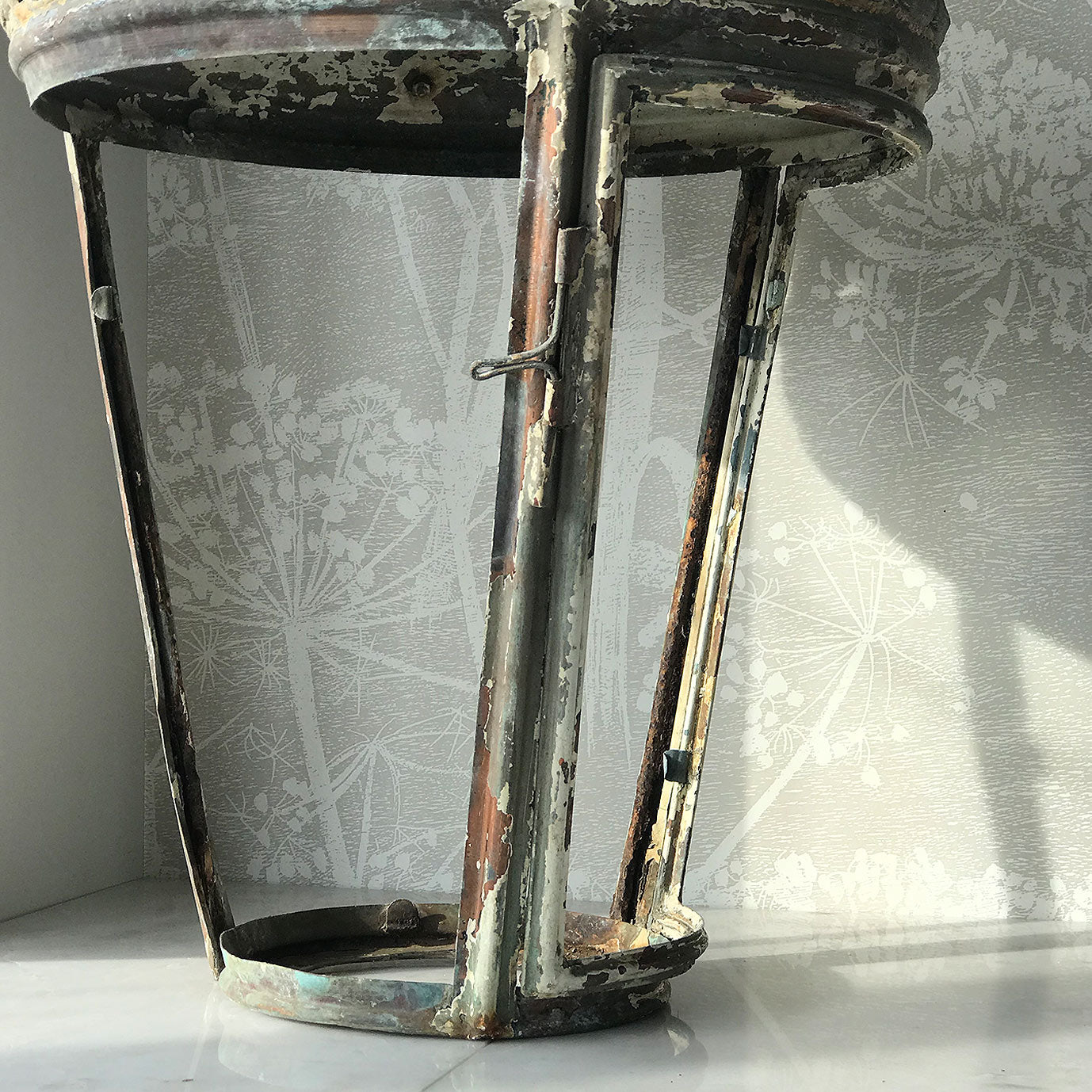 Beautifully distressed large Victorian Antique Copper Lantern. Years of weather have turned this lamp in to a thing of beauty. It stands XX tall with a decorative lead border that has remnants of the gold paint that adorned it. In good structural order having been dismantled, cleaned and re-assembled - SHOP NOW - www.intovintage.co.uk
