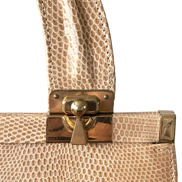 '70's Cream Lizard Skin Handbag by Jane Shilton