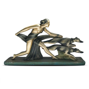 Large Deco Statue of Diana with Hunting Dogs