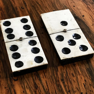 Civil War Era Bone Dominoes with Brass Spinners