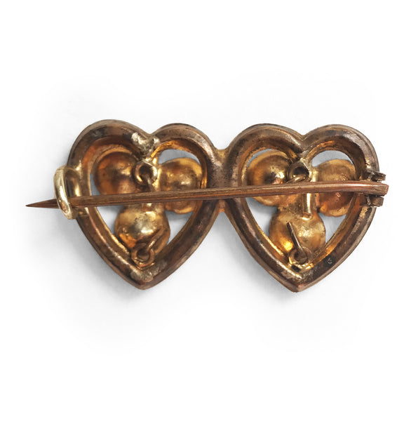 Victorian Gold & Paste Double Heart Shamrock Brooch