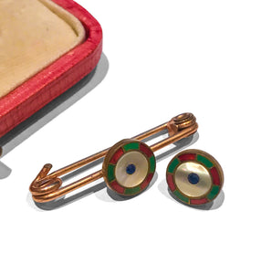 Vintage Enamelled Dress Studs & Pin - www.intovintage.co.uk