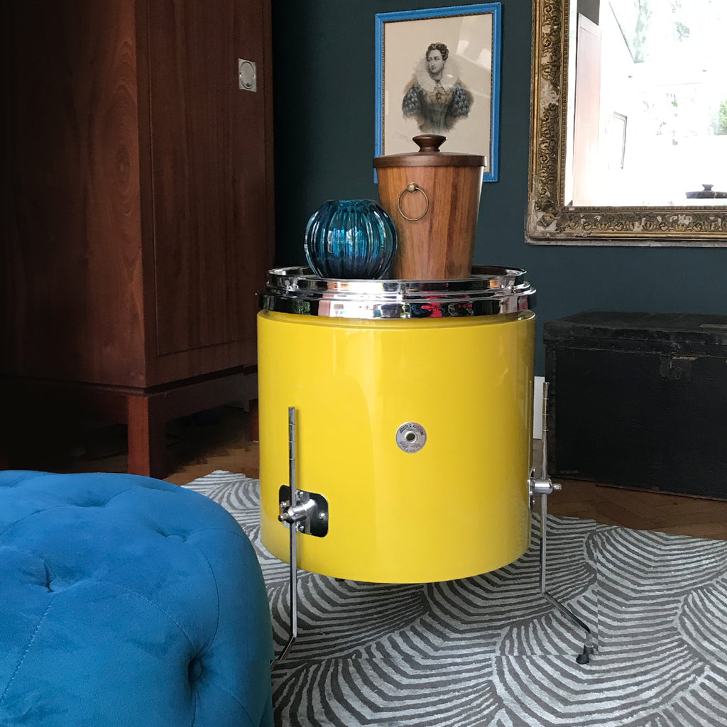 Drum roll please... Cool Funky Vintage Arbiter Drum in a fantastic, popping mustard yellow colour. Makes a fantastic cool side table adding that glam rock feel to any room! - SHOP NOW - www.intovintage.co.uk