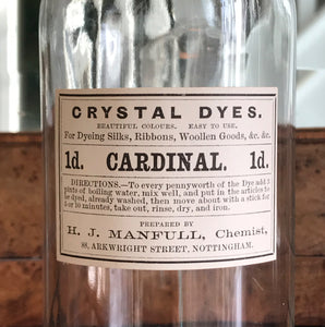 Set of Five Clear Apothecary Bottles with original Crystal Dyes paper labels from The H. J Manfull Chemist, 88 Arkwright Street, Nottingham - SHOP NOW - www.intovintage.co.uk