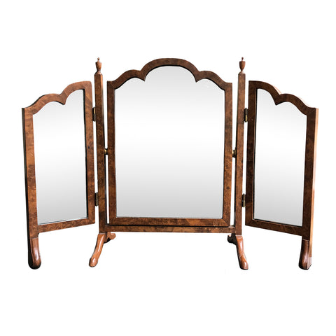 Pretty and versatile veneered Edwardian 3 way mirror, topped with small urn finials, on sturdy feet. This piece has a lovely warm mottled tone and has a elegant scalloped top - Shop Now - www.intovintage.co.uk