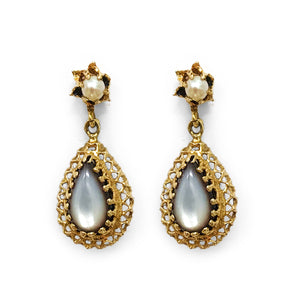 Edwardian 15ct Gold Mother of Pearl Earrings