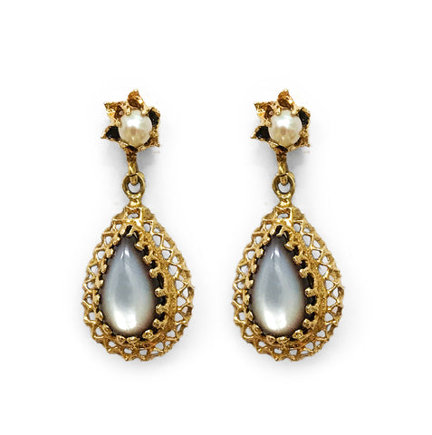 Gold Filigree Teardrop Earrings are set around teardrop shape Mother of Pearl Stones. Find this and other Vintage jewellery for sale at Intovintage.co.uk.