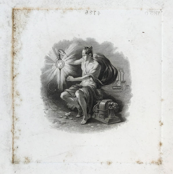 Antique Etching of the God of Electricity