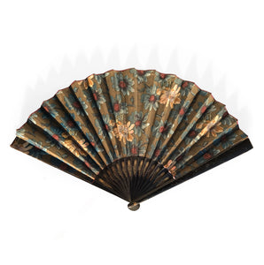 Beautiful, large vintage Victorian ladies fan. Covered in a beautiful silk flower pattern with brilliant red on the reverse - SHOP NOW - www.intovintage.co.uk
