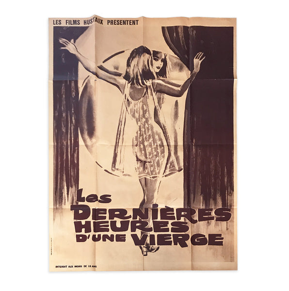 Very large and very cool vintage saucy French film poster. 'Les dernier heures d'une vierge' was released in 1972 - SHOP NOW - www.intovintage.co.uk