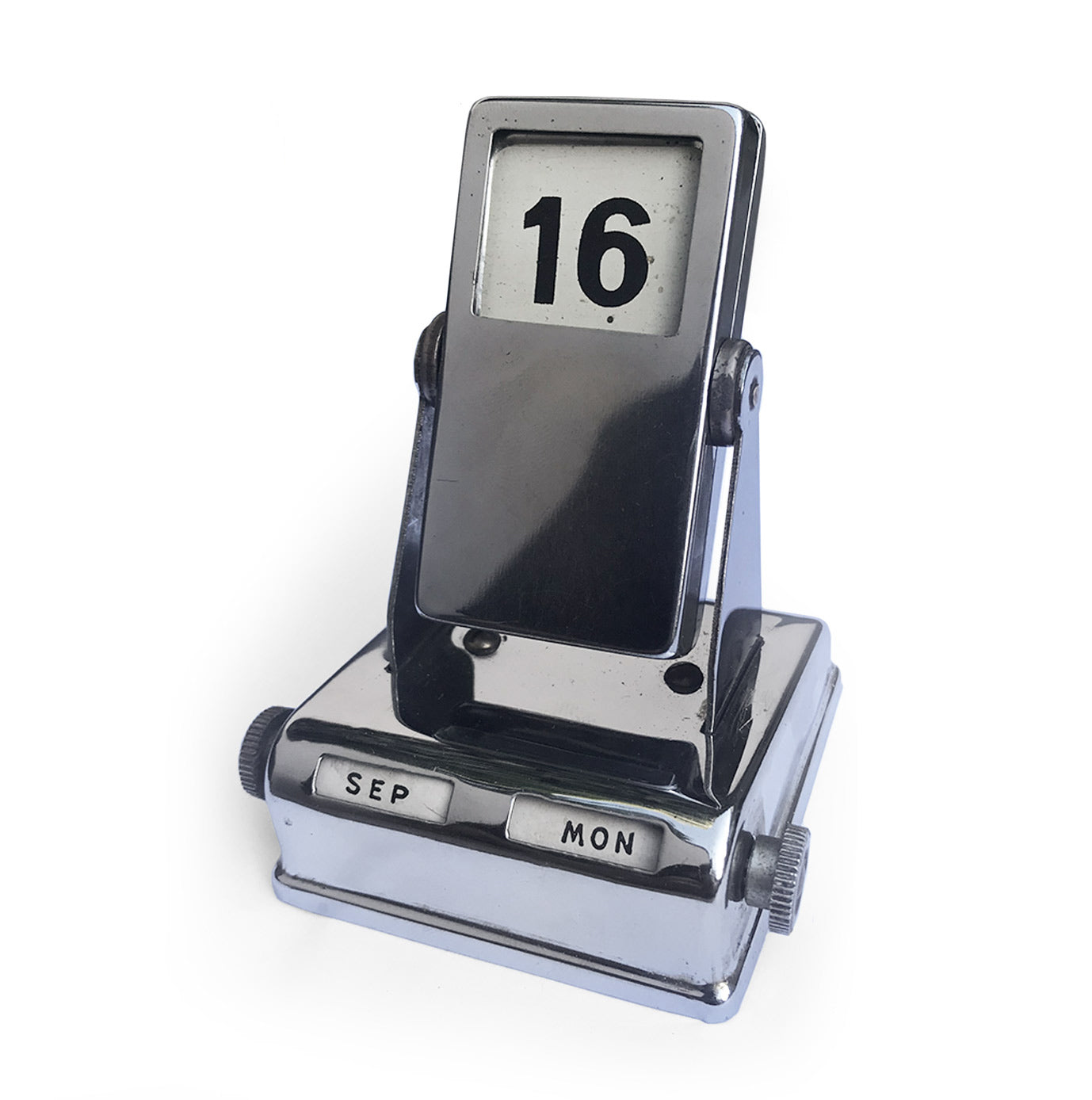Vintage Chrome Flip Desk Calendar