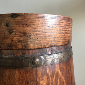 Fantastic Coopered Oak Antique Flour Bin, probably Georgian. A good size bin that tapers to the top and is bound with steel rings. The original aged black lettering is still on the front and the wood has aged to a beautiful mellow golden colour - SHOP NOW - www.intovintage.co.uk