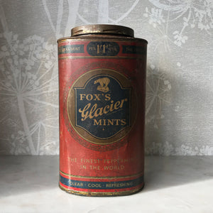 Fox's Glacier Mints Shop Tin in Good Condition with fantastic graphics and great patina. Good clean piece - SHOP NOW - www.intovintage.co.uk