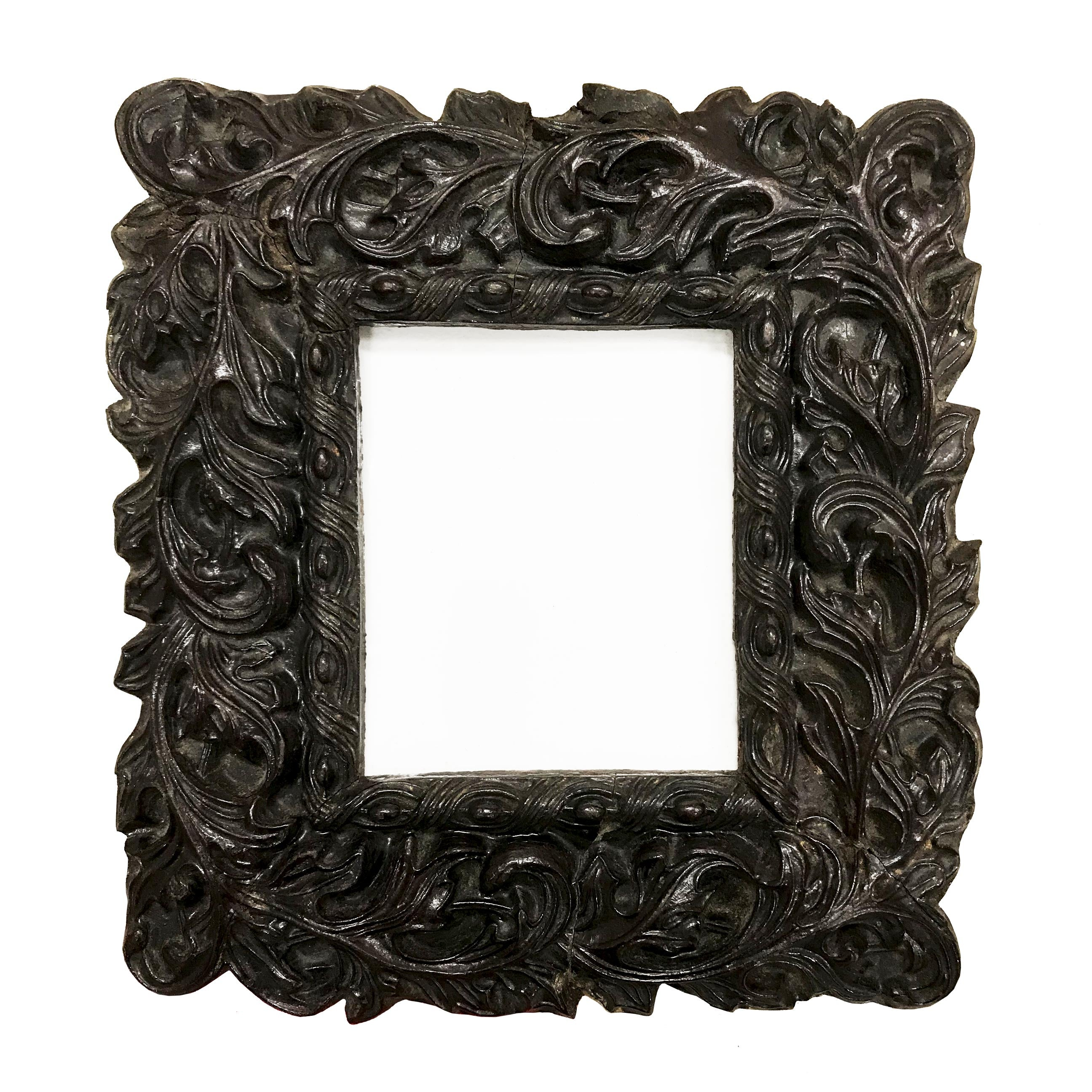 Antique Paper Mache Frame. A 'wood like' paper mache frame, which uses a beautiful embossed style decoration of entwining leaves - SHOP NOW - www.intovintage.co.uk