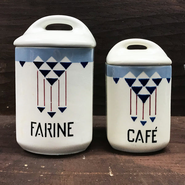 Pair of vintage 'Yvonne' French storage jars - SHOP NOW - www.intovintage.co.uk