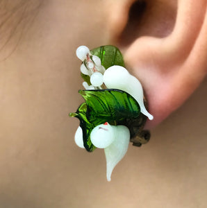 Vintage Italian hand made blown glass ear clips - SHOP NOW - www.intovintage.co.uk