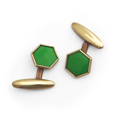 1930's Green Deco Cuff Links