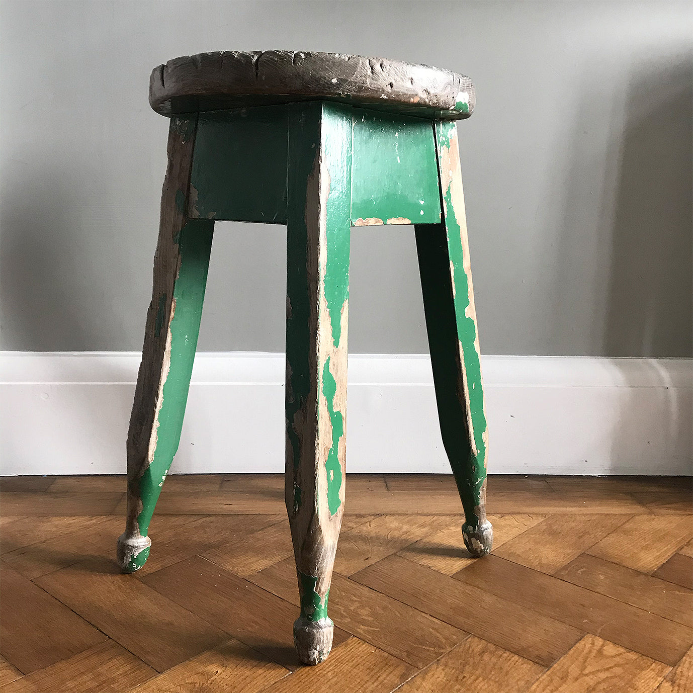 Good looking Vintage Painted Stool. Fantastic age age related wear and patina yet still totally solid. The green paint has worn and chipped away giving the stool that bang on look - SHOP NOW - www.intovintage.co.uk