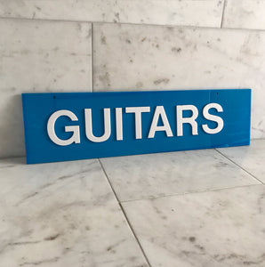 Vintage Shop Guitars sign with cut white perspex lettering on to a cyan blue perspex background - SHOP NOW - www.intovintage.co.uk