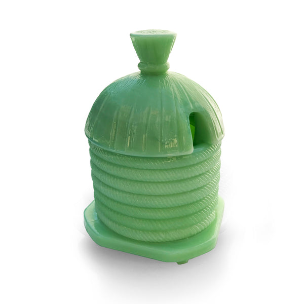 1930's Green Glass Honey Pot. Find this and other Beautiful Vintage items for you home at Intovintage.co.uk.