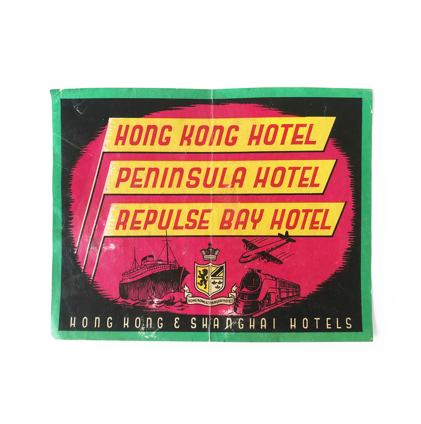 Vintage Hong Kong Hotels luggage label. In great condition - SHOP NOW - www.intovintage.co.uk