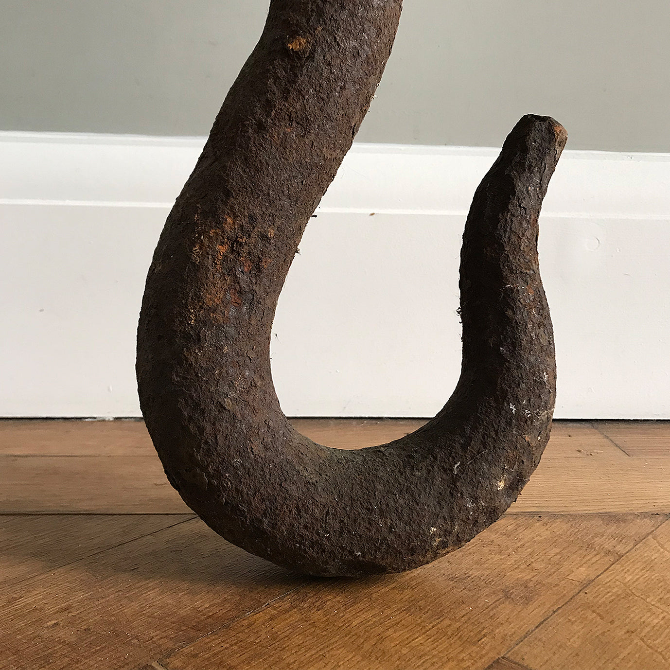 Huge cast iron Vintage Crane Hook. This heavy industry piece would have come off of a large vintage crane. It is Incredibly heavy!! Looks fab just leaning against the wall - SHOP NOW - www.intovintage.co.uk