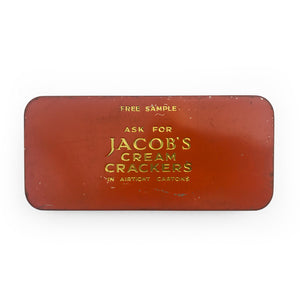 Vintage Jacob's Cream Crackers sample tin. Deco style design to the front with golden embossed copy to the rear - SHOP NOW - www.intovintage.co.uk