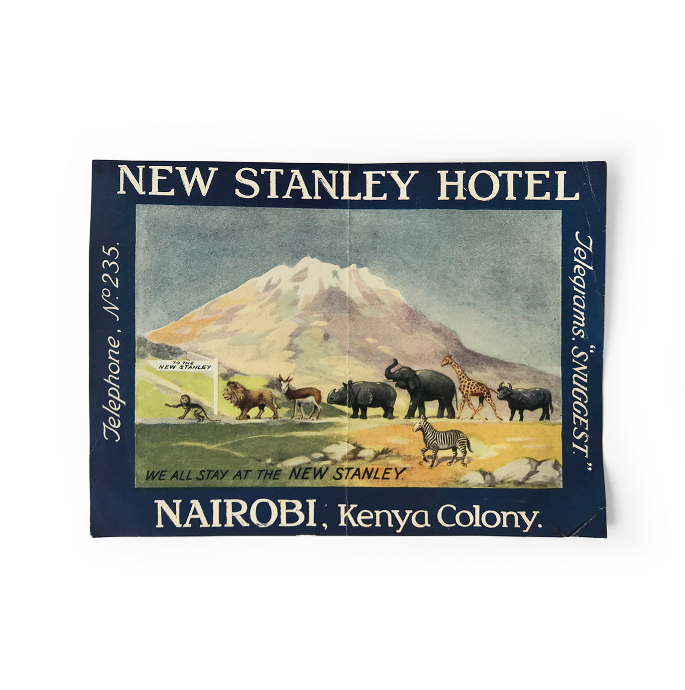 Vintage Kenyan, New Stanley Hotel luggage label. In great condition - SHOP NOW - www.intovintage.co.uk