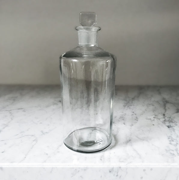 Large vintage clear glass Apothecary bottle with clear glass stopper - SHOP NOW - www.intovintage.co.uk