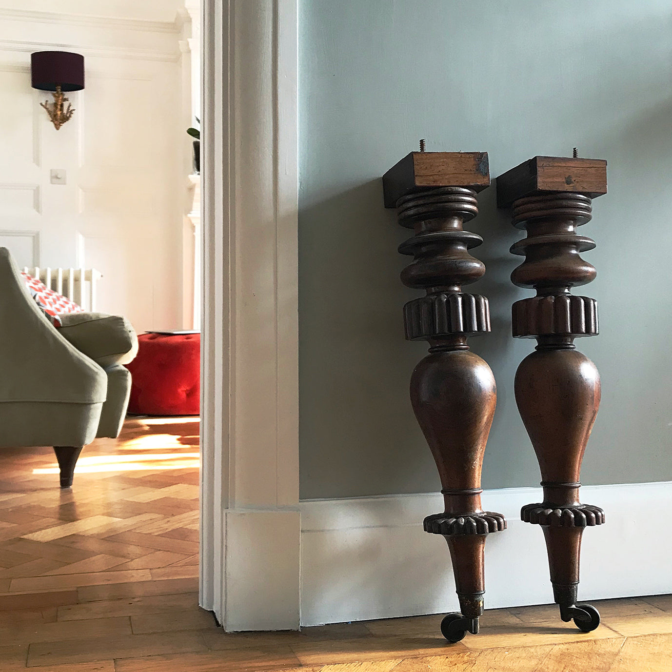 Beautifully turned and fantastically detailed. Two substantial antique furniture legs in Rosewood finished in an original brass caster. for an interior project - SHOP NOW - www.intovintage.co.uk