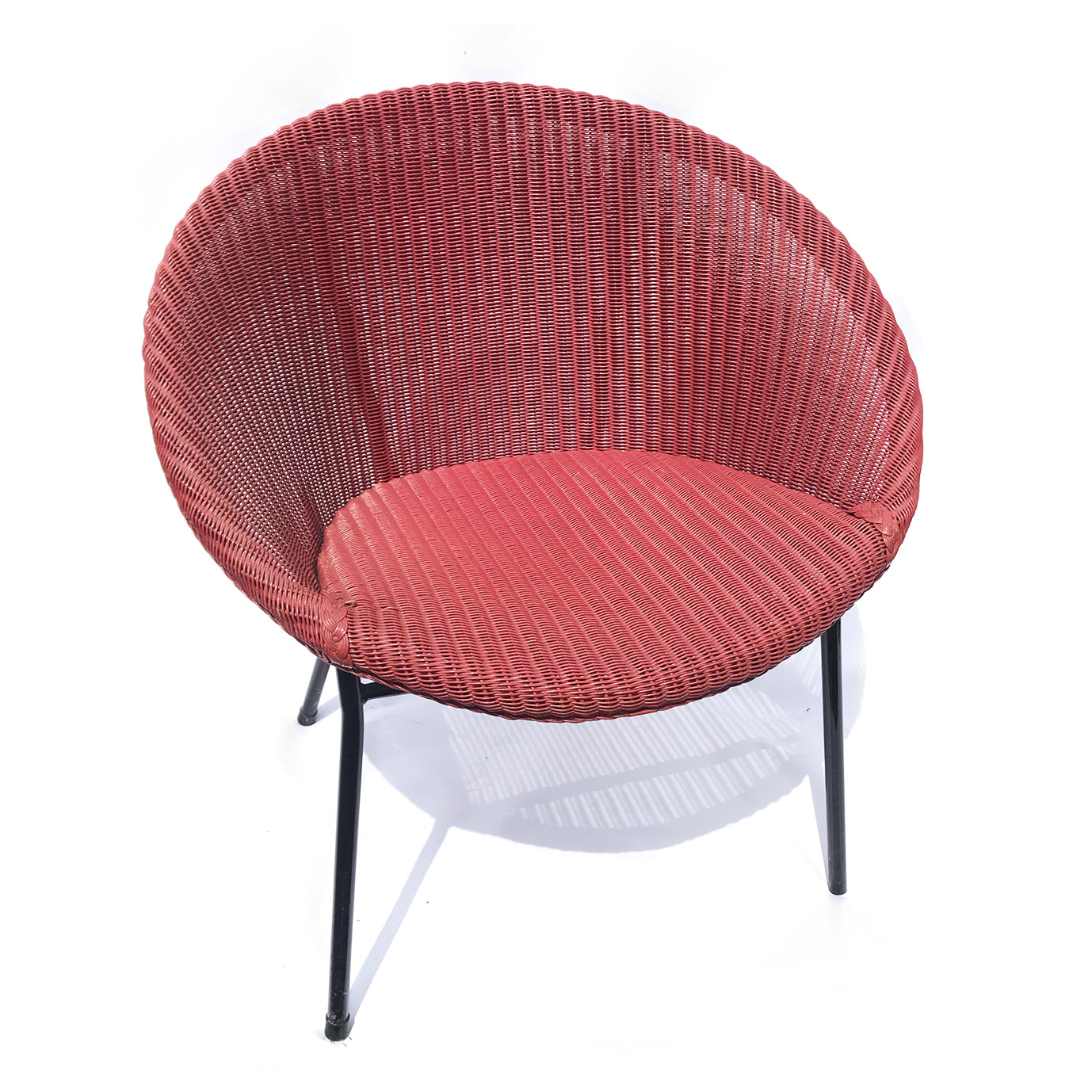 Cool LLoyd Loom Lusty Satellite Chair in its original Rhubarb colour with black metal frame - SHOP NOW - www.intovintage.co.uk