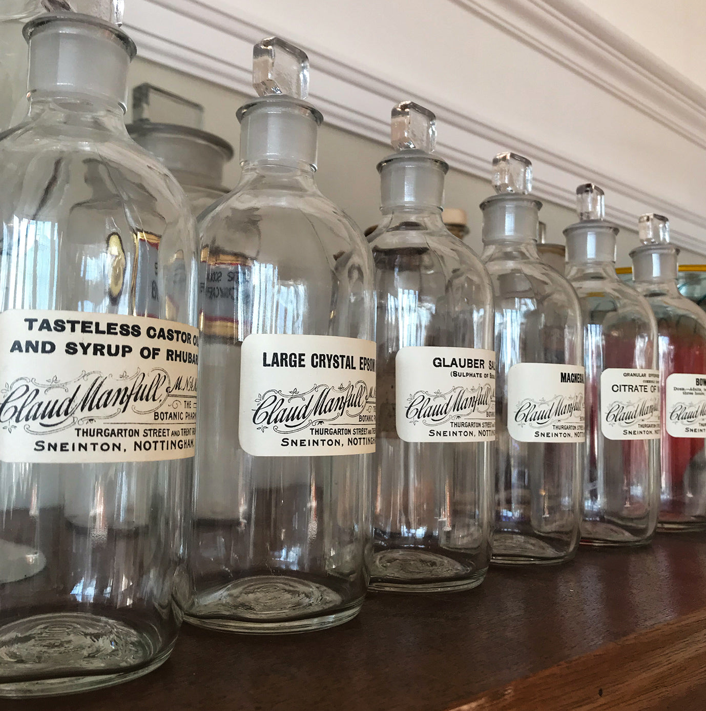 Set of Six Clear Apothecary Bottles with original paper labels from The Botanic Pharmacy, Thurgarton Street and Trent Road, Nottingham - SHOP NOW - www.intovintage.co.uk
