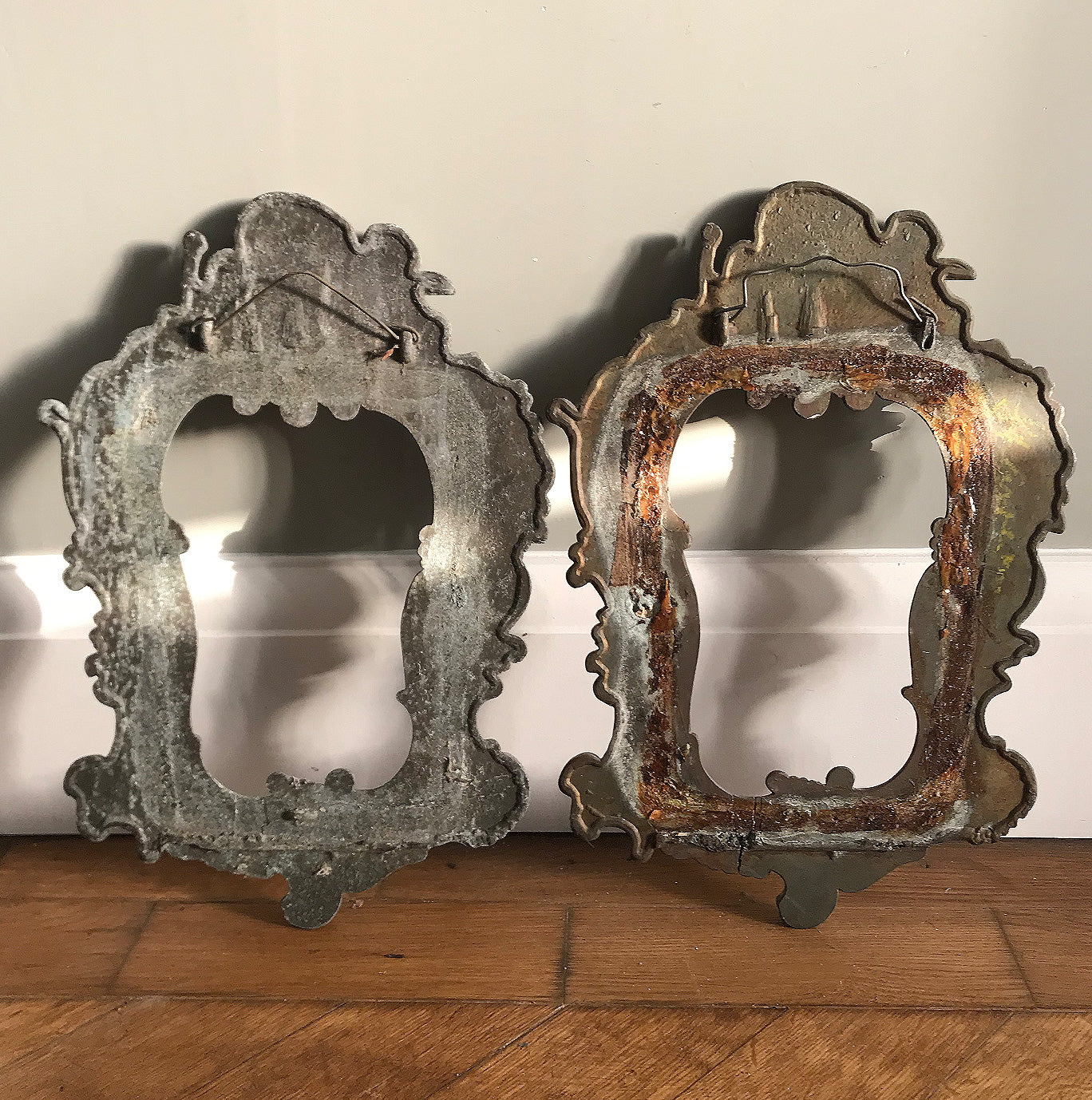 Lovely pair of Cast Metal Baroque Style Frames. Each frame has a couple of Cherubs at the top with flowing Baroque decoration around the rest of the frame - SHOP NOW - www.intovintage.co.uk