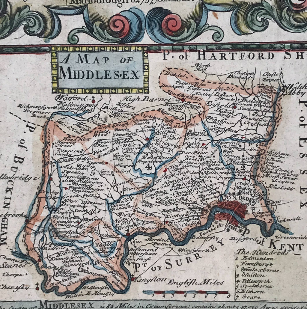 Hand coloured mounted map of the county of Middlesex (1773). Find Antique Etchings & other Antique Prints at IntoVintage.co.uk