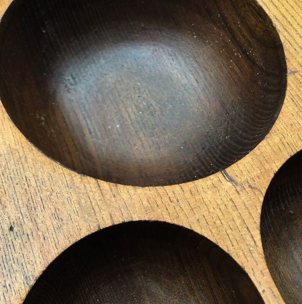 Antique Money Tray, made of solid oak, it has 3 deep bored bowls where money would have been kept. Used by shop keeps and market traders in the late 19th and early 20th century - SHOP NOW - www.intovintage.co.uk