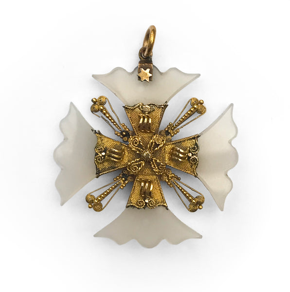 Beautiful Glass & Gold Filigree Cross