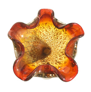 Murano Art Glass bowl, with a fantastic firey mix of colour. Deep oranges, yellows, browns & golden flecks swirl and sparkle in the light making this art bowl a real corker - SHOP NOW - www.intovintage.co.uk