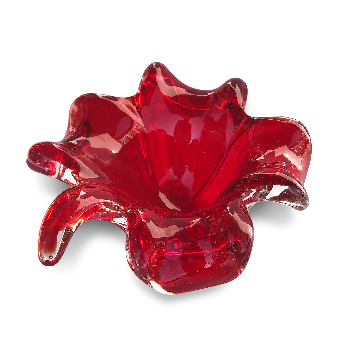 Bright red Murano Art Glass bubble vase - SHOP NOW - www.intovintage.co.uk