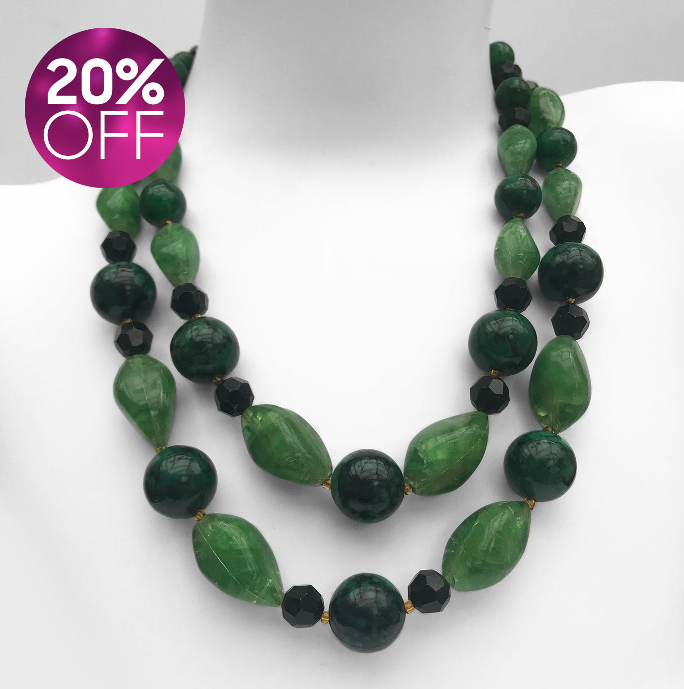 Vintage Green Plastic Necklace