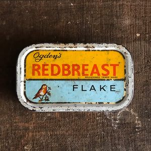 Vintage Ogden's Redbreast Flake Tobacco Tin. Nice popping colours to the front - SHOP NOW - www.intovintage.co.uk