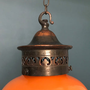 Pretty Hand Painted Continental Glass Lamp Shade with Copper Gallery. The glass shade has a wonderful deep orange colour with pretty hand painted floral details. The copper gallery has pierced detail decoration with hook - SHOP NOW - www.intovintage.co.uk