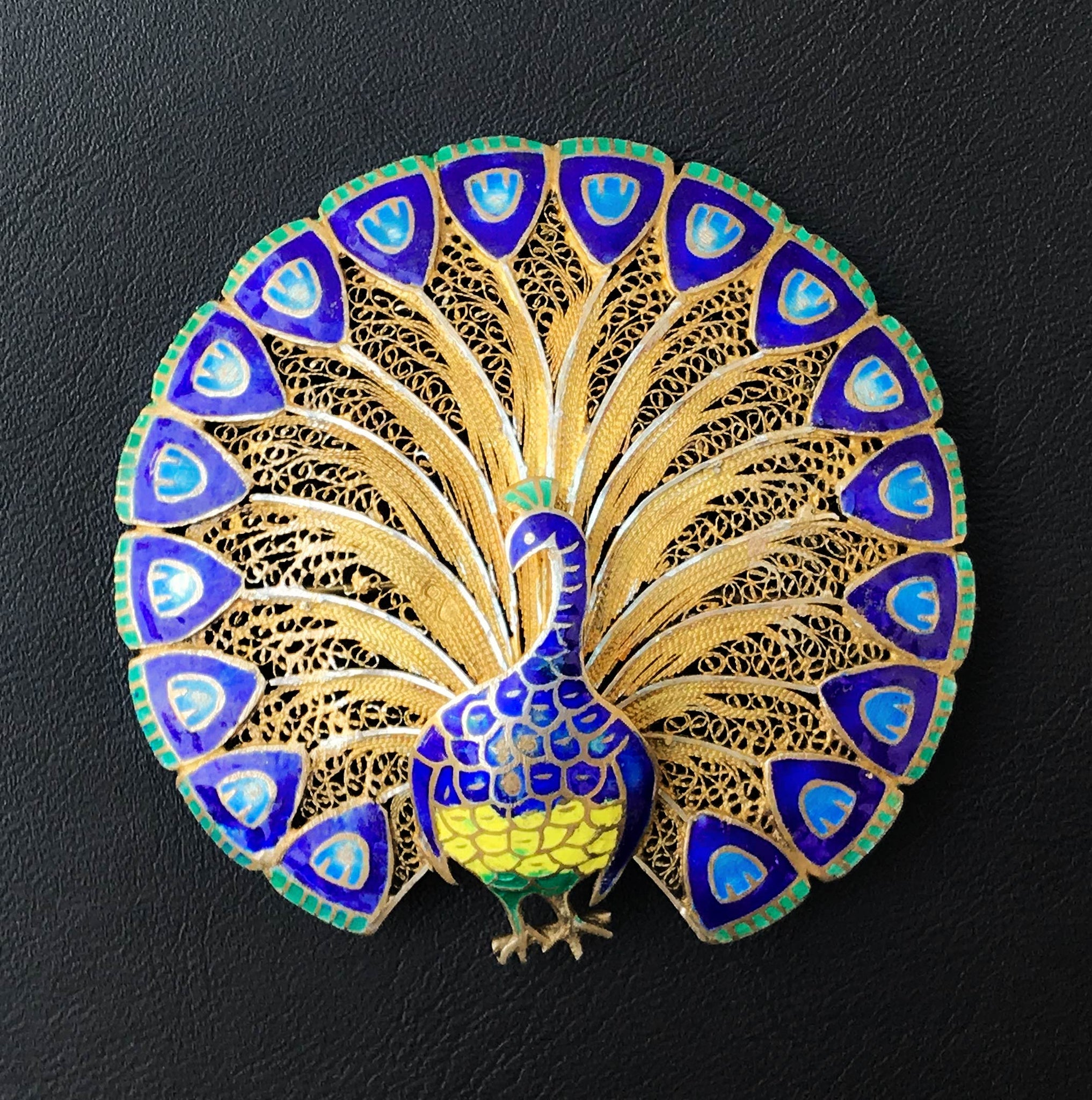 Beautiful Enamelled Gilded Silver Peacock Brooch
