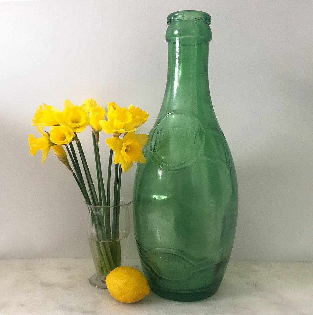 Huge, great big Perrier Glass Advertising Bottle measuring a whopping 51cm tall! Great decorators piece or somewhere cool to keep your cash - SHOP NOW - www.intovintage.co.uk