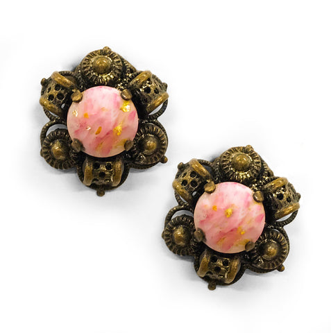 Vintage Pink Glass Ear Clips