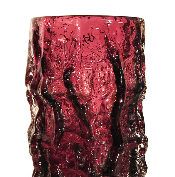 "Whitefriars Aubergine ""Bark"" vase, from the textured range designed by Geoffrey Baxter - SHOP NOW - www.intovintage.co.uk"