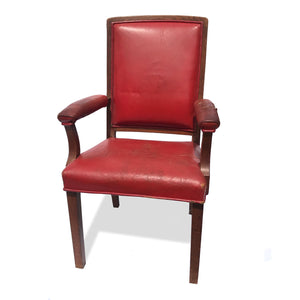 Super sturdy and super comfy antique red leather oak partners chair - SHOP NOW - www.intovintage.co.uk