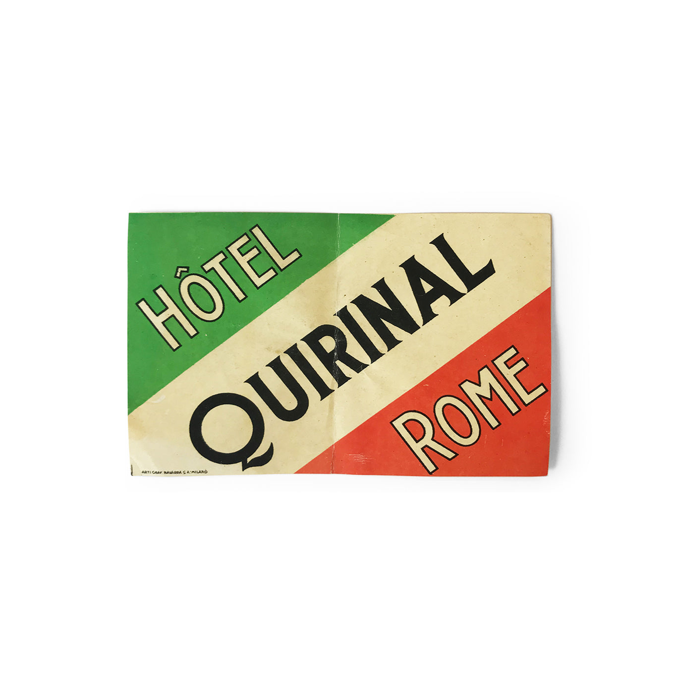 Vintage Italian, Quirinal Hotel, Rome luggage label - SHOP NOW - www.intovintage.co.uk