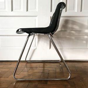 Original Robin Day for Hille of London 'Polo' chair designed in 1975 with chromed steel rod skid base and pierced polypropylene shell-black seat - SHOP NOW - www.intovintage.co.uk